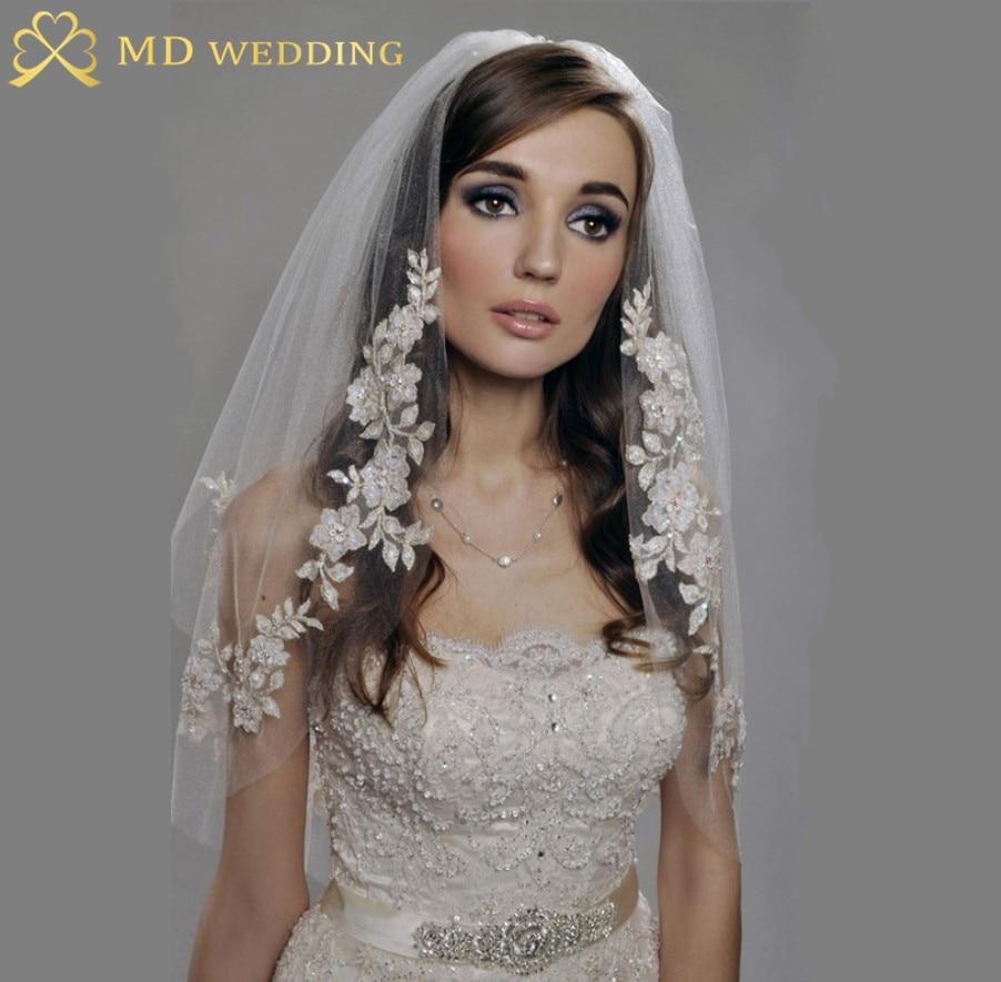 Wedding Mantilla Veil aliexpress com buy real photos white ivory short wedding veil with comb lace applique mantilla bridal accessories ve