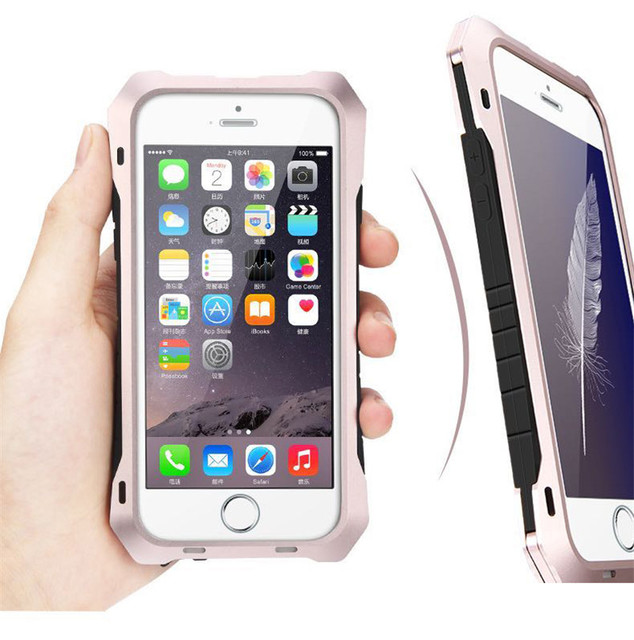 Luxo sujeira/à prova de choque vida-à prova d' água de metal de alumínio proteja caso capa para o iphone 6 6 s plus/6 splus/5 5S si caso + gorilla glass