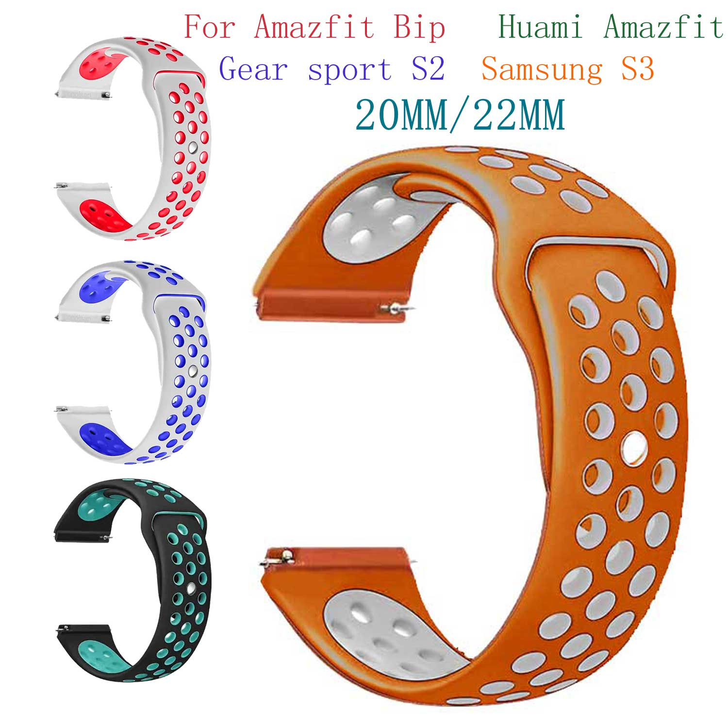все цены на Silicone strap for xiaomi huami Amazfit bip Watch Band 20 22 mm for Samsung Gear sport S3 S2 Frontier Classic SM-R760 Watchband онлайн