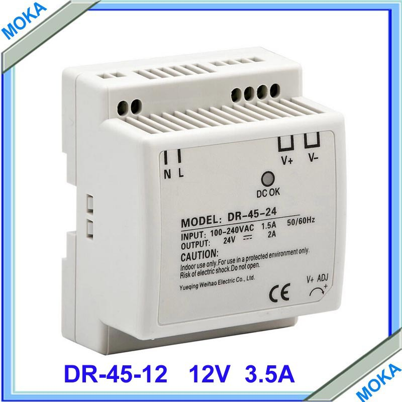 Free shipping high quality Din rail Single Output Switching power supply DR-45-12 45W 12V 3.5A ac dc converter цена и фото