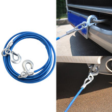 5Tons 4m Tensioning Belts Car Vehicle Boat Steel Wire Tow Rope Towing Pull Strap Rope With Hook Heavy Duty Car Tow Cable