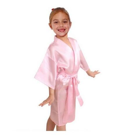 Kids Solid Satin Rayon Kimono Robe Bridesmaid Solid Bathrobe Children Nightgown Sleepwear Dressing Gown