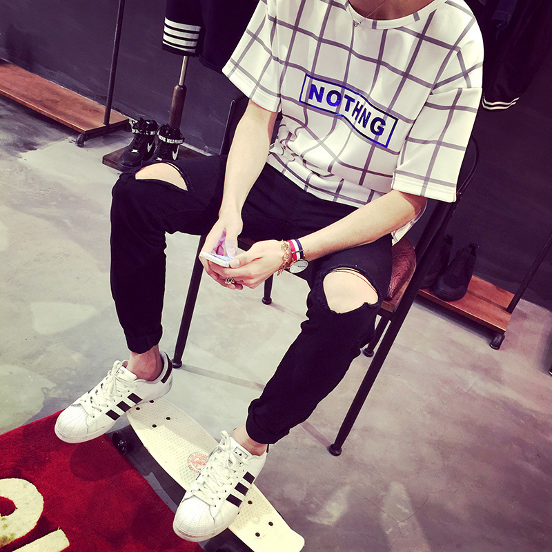 ripped jeans for men skinny Distressed biker jeans streetwear swag brand white black designer kanye high