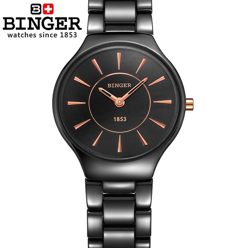 Image 3 - Switzerland luxury brand womens watches  Binger ceramic quartz  Wristwatches fashion lovers style Water Resistant clock B8006 6clock  brandclock fashionclock women