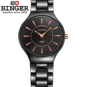 Image 3 - Switzerland luxury brand womens watches  Binger ceramic quartz Wristwatches fashion lovers style Water Resistant clock B8006 6