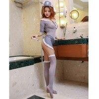 Sex Dài Sleeves Maid Đồ Lót Phụ Nữ Hot Ren Lót Sexy Y Tá Trang Phục Babydoll Ăn Mặc Sheer Erotic Lingerie Cosplay Uniform