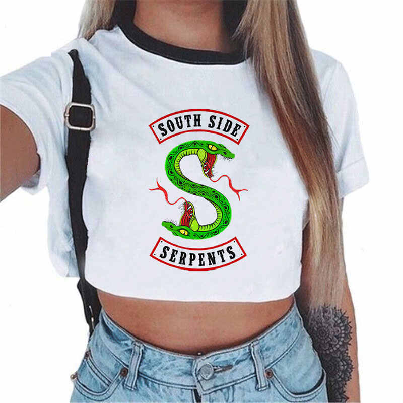 Riverdale South Side Serpents Printed White Crop Top Femme Fashion Harajuku Tee Clothes Women Blouses Shirts Tops Cropped Tumblr