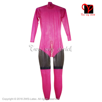 Sexy latex catsuit with back Zipper three colors rubber catsuit stockings Long sleeves Jumpsuit overall plus size XXXL LT 097