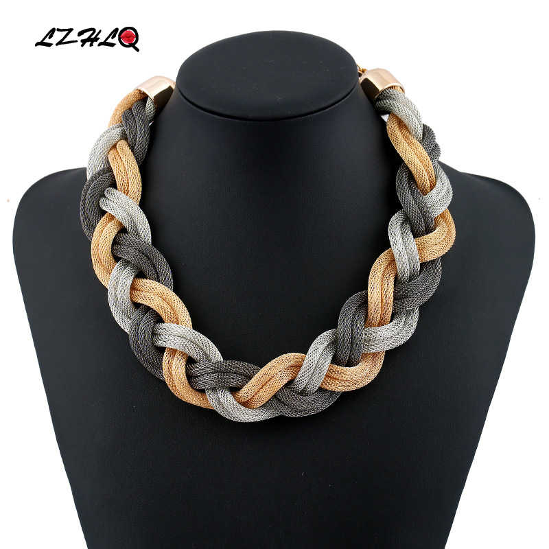 LZHLQ 2019 Fashion Metal Choker Necklaces Trendy Multilayer Twist Torques String Geometric Clavicle Chain Punk Jewelry Statement