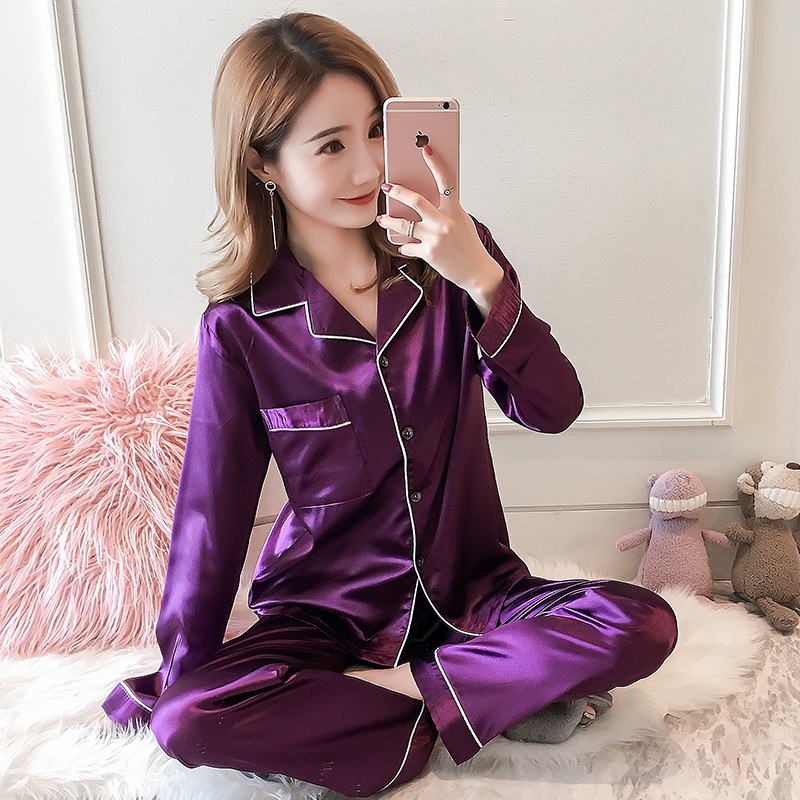 Long Sleeve Silk Pajamas Suit Women Autumn Pajama Sets Silk Satin Pijama Sleepwear Pyjamas Plus Size 3XL 4XL 5XL Nightwear Set
