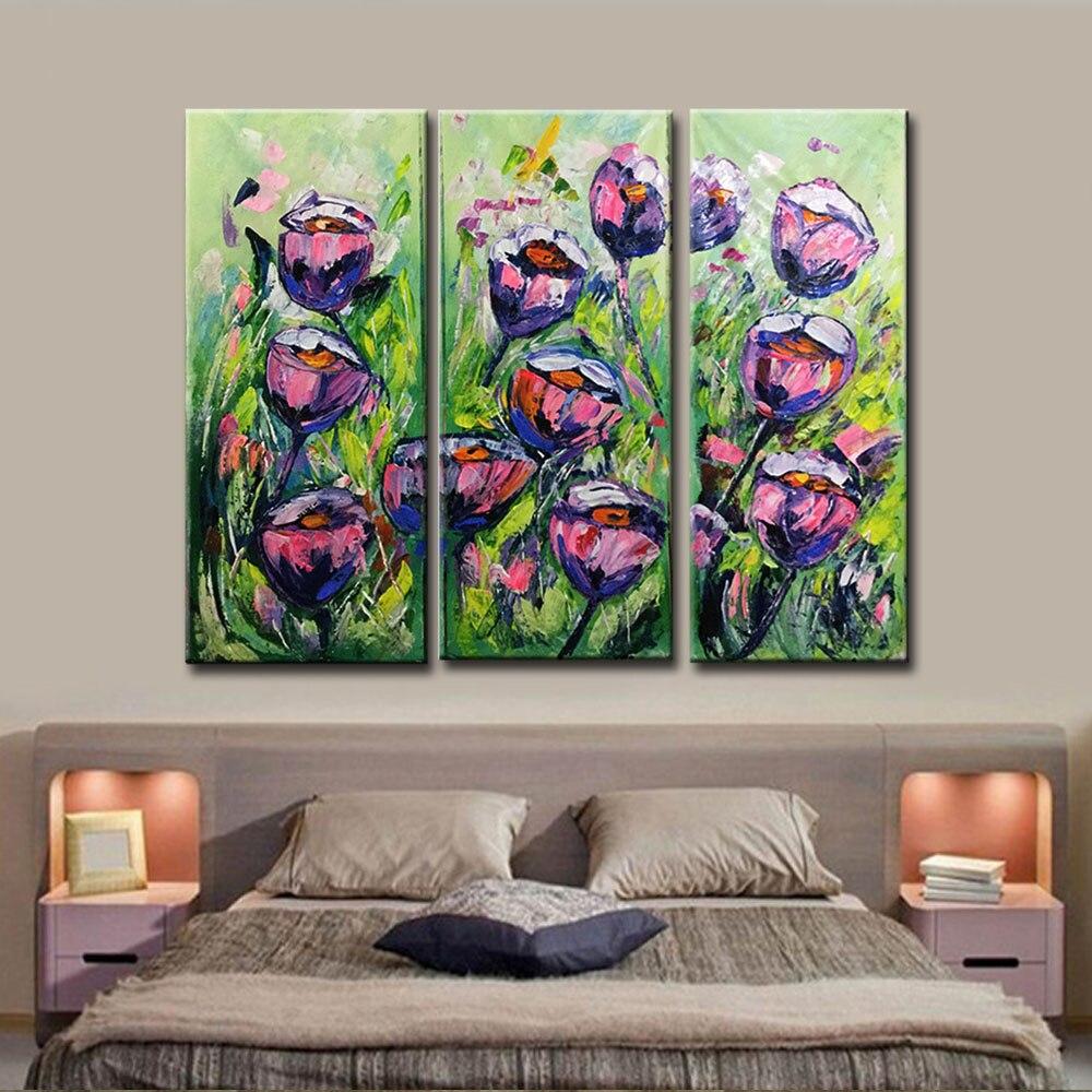 Peint à la main grande fleur violet rose Roses peintures à l'huile triptyque trois panneaux texturé Art mur photo salon décor à la maison - 2