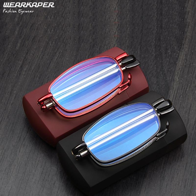 WEARKAPER Coating Anti-fatigue Anti-Blu-ray Reading Glasses Men Women Folding Foldable Glasses Metal Glasses With Original Box