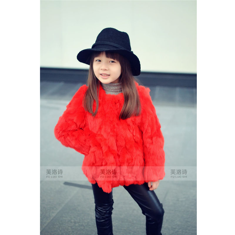 2015 High Quality Real Fur Coat Winter Fashion Girls Clothes Kids Rabbit Fur Jacket For Children Luxury Manteau Fille Red 2-8Yrs