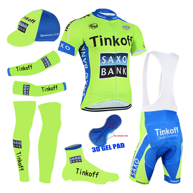 df748dc7c 2015 green tinkoff saxo cycling suit short sleeve cycling clothing sets  mens jersey and 3d gel bib shorts 6 in 1 bike suit