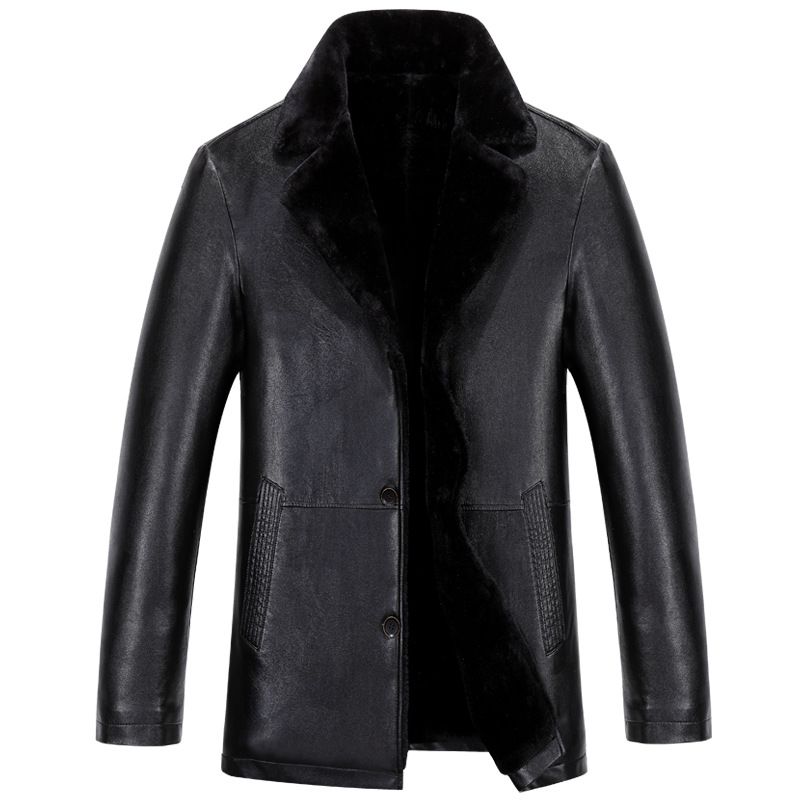2017 new mens fur blazer collar leather jacket men business plus velvet thick leather coat High-grade imported leather jackets