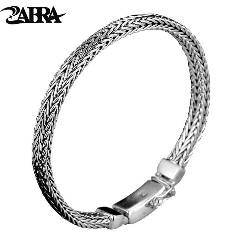 ZABRA Real 925 Sterling Silver Bracelet Men Vintage Punk Fashion Handmade Weave Bracelets Bangles Male Jewelry