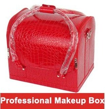 Shoulder professional cosmetics bag fashion PU hard case makeup box 23 colors double open women make