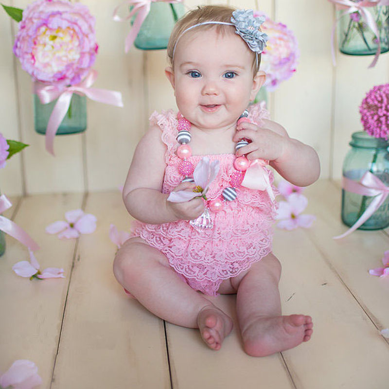 4a6c081e0 Baby Lace Rompers Girls Summer Clothes Newborn child photography ...