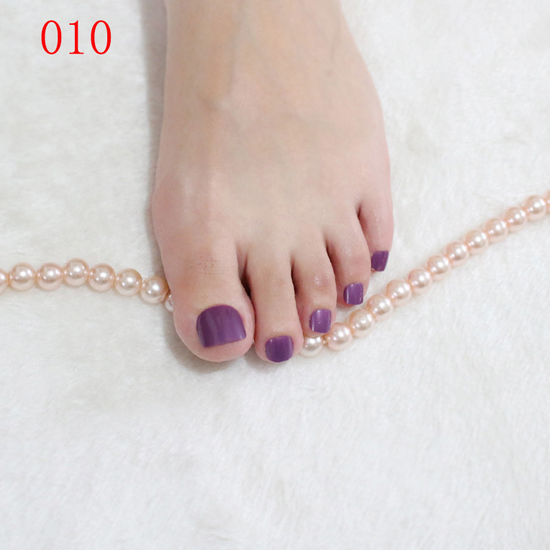 Lovely Cute Candy Taro Purple Acrylic False Toes Art Tips DIY Full ...