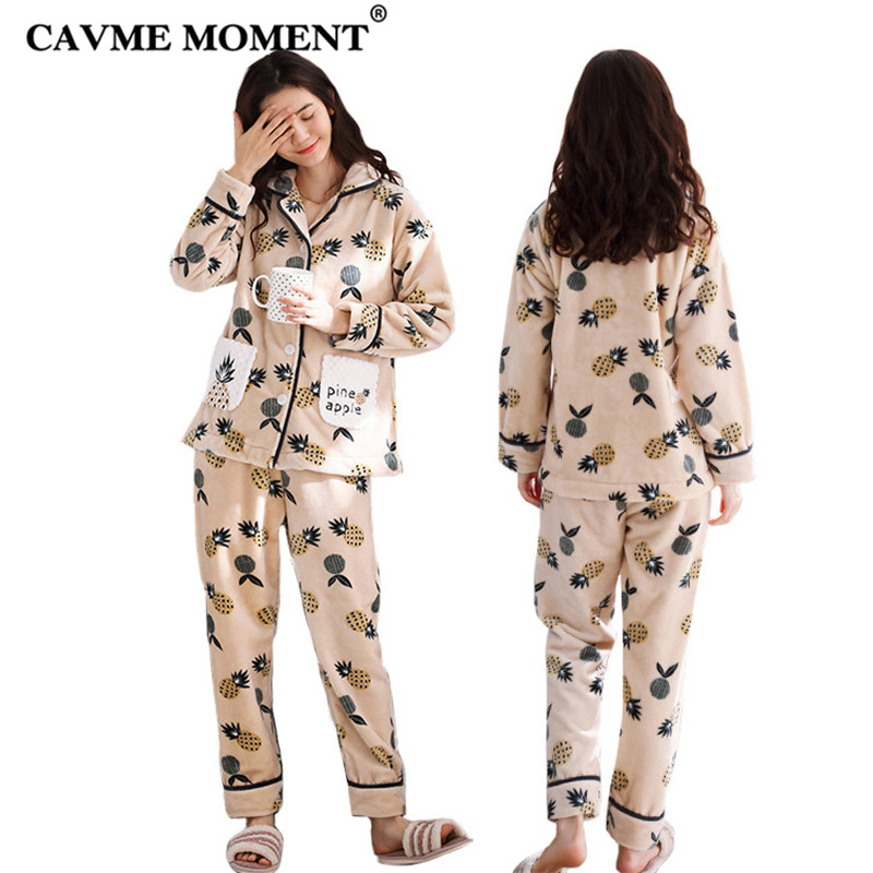 CAVME Femme Thicken Flannel   Pajama     Sets   for Women Ladies Printing Full Sleeve Home Clothes Nightwear 2 Pcs   Set