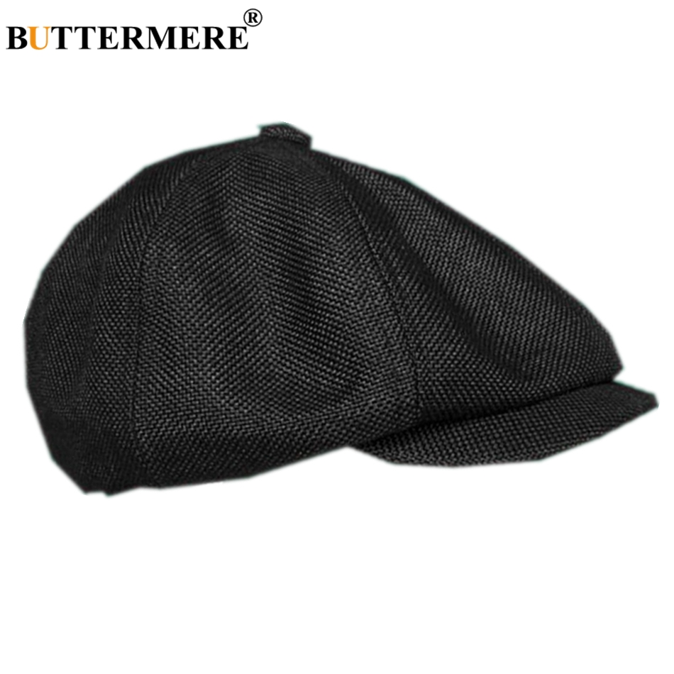ca6a89959 US $13.33 68% OFF|BUTTERMERE Linen Men's Newsboy Cap British Style Spring  Summer Black Male Flat Cap Breathable Brand Beckham Mens Beret Hat-in Men's  ...