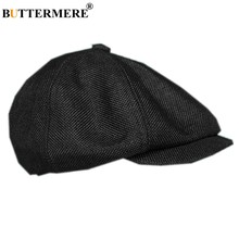 BUTTERMERE Linen Men's Newsboy Cap British Style Spring Summer Black Male Flat Cap Breathable Brand Beckham Mens Beret Hat(China)