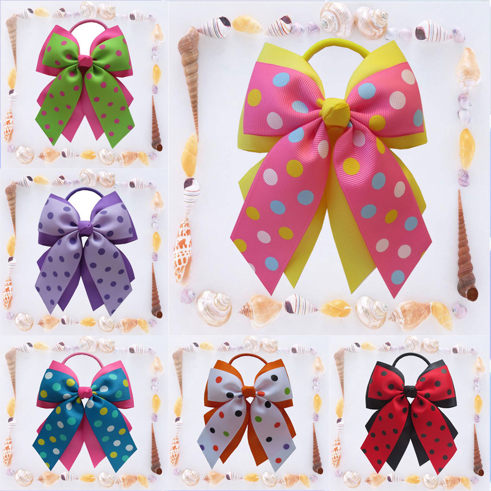 2015 New hand 14pcs BLESSING Happy Girl Hair Accessories 4.5 A- Double Cheer Leader Bow Elastic Free shipping