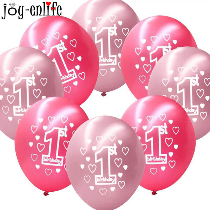 JOY-ENLIFE 10pcs 1st Birthday Print Latex Balloon Kids Birthday Baby Shower Girl 1st Birthday Party Digital toys Decor Supplies