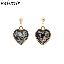Temperament contracted colorful love peach heart earrings small delicate female wedding banquet stud