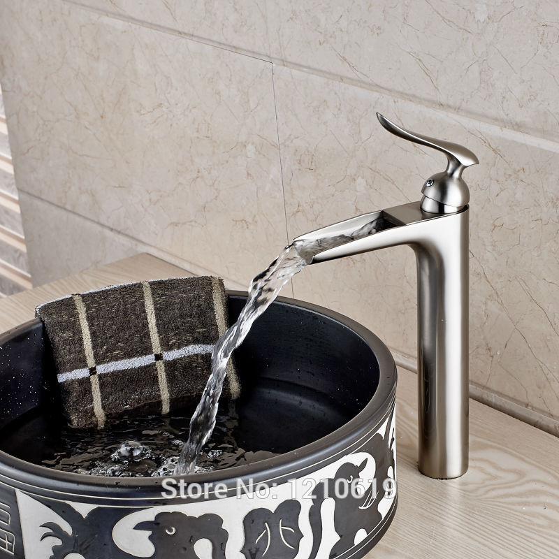 Newly Tall Basin Mixer Faucet Tap Nickel Brushed Waterfall Sink Faucet Cold&Hot Water Tap Single Hole duzi waterfall water mixer nickel brushed bathroom sink faucet tap cold hot with sink faucet hole cover deck plate escutcheon