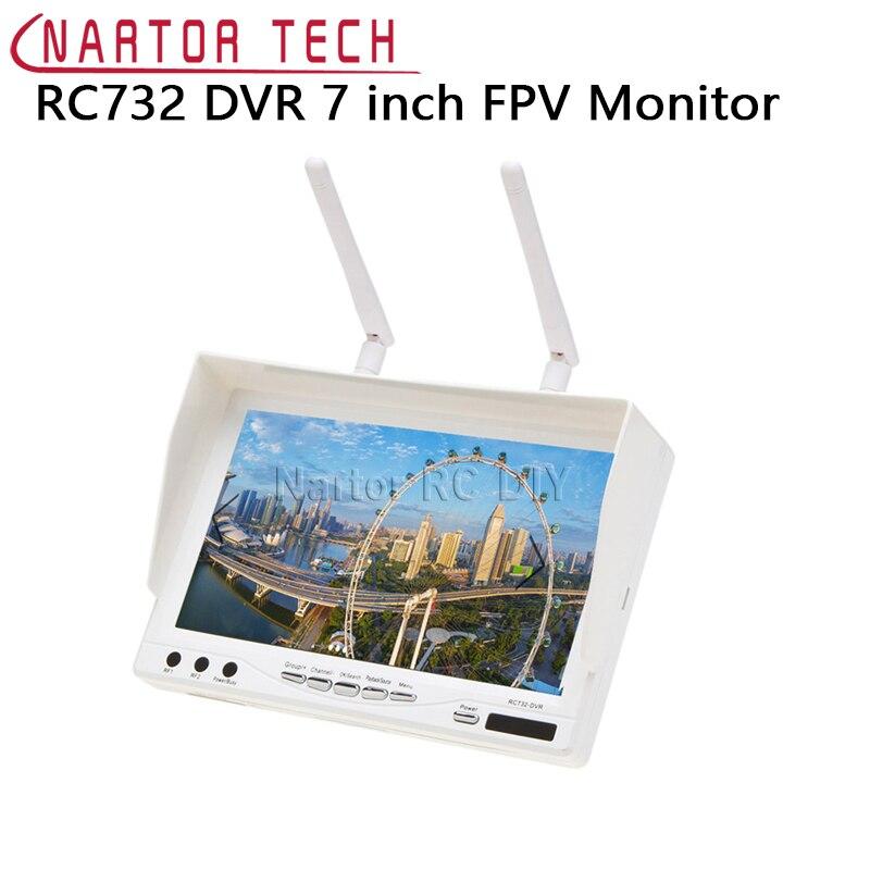 Новый RC732 DVR AIO 7 дюймов HD ЖК-дисплей FPV монитор Встроенный Батарея и 32CH 5.8 Г Беспроводной разнообразие RC приемник ...