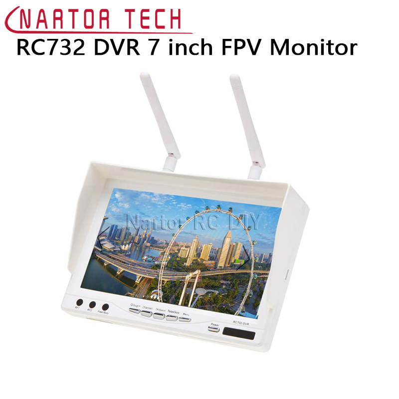 New RC732 DVR AIO 7 inch HD LCD FPV Monitor Built-in Battery and 32CH 5.8G Wireless Diversity RC Receiver rc732 dvr 7 inch 800 480 hd lcd fpv monitor built in battery fpv boscam hd08a 1080p full hd waterproof sports camera