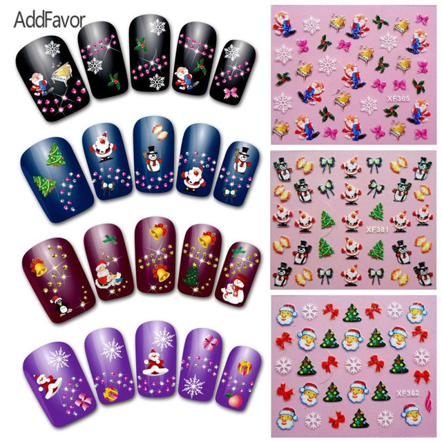 addfavor christmas nail decal sticker snowman bell hat deer santa claus xmas nail sticker diy design