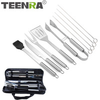 TEENRA 10Pcs Set Stainless Steel BBQ Tools Set Grill Utensil Kit Outdoor Camping Barbecue Kit With