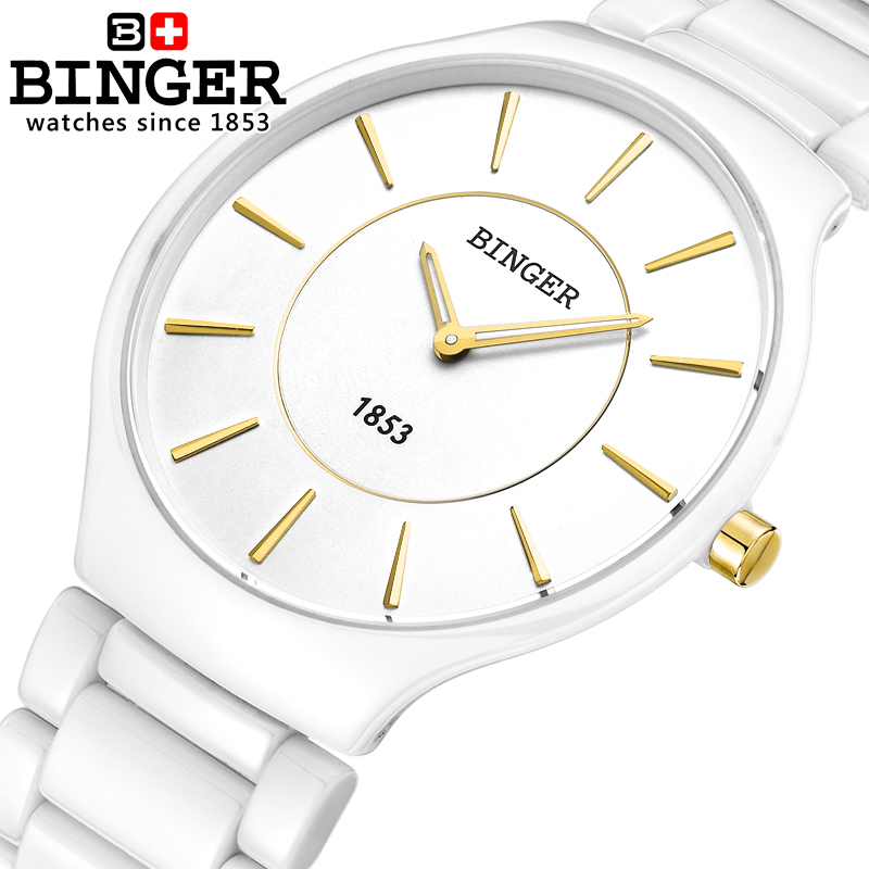 Switzerland luxury brand men's watch Binger Space ceramic quartz clock lovers style Water Resistant Wristwatches B8006B-3 все цены