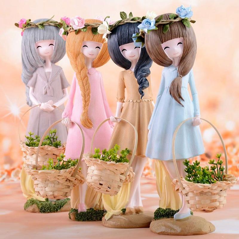 Cute Girl Dolls Home Decor Crafts Handheld baskets resin figurines miniatures fairy garden decoration creative wedding gifts in Figurines Miniatures from Home Garden