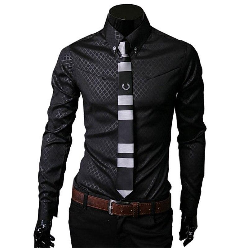 Hombres camisas de cuadros marca 5XL 2018 nuevo para hombre camisas de vestir de manga larga de corte Slim negro blanco Social Hombre Ropa camisa homme 25