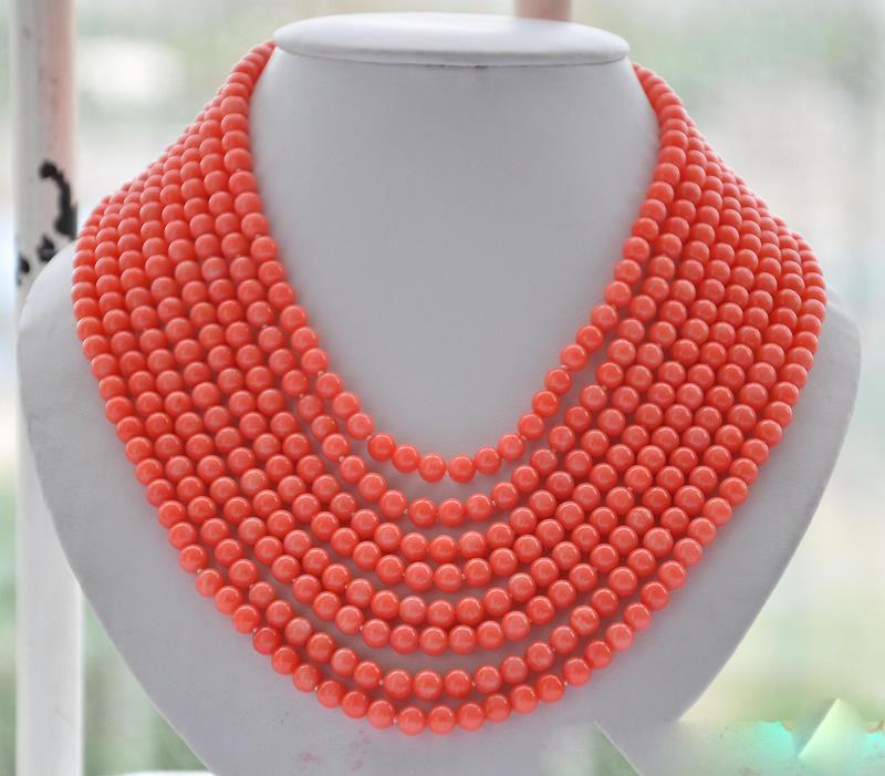 8 brins véritable 6 MM collier de perles de corail rose rond 16