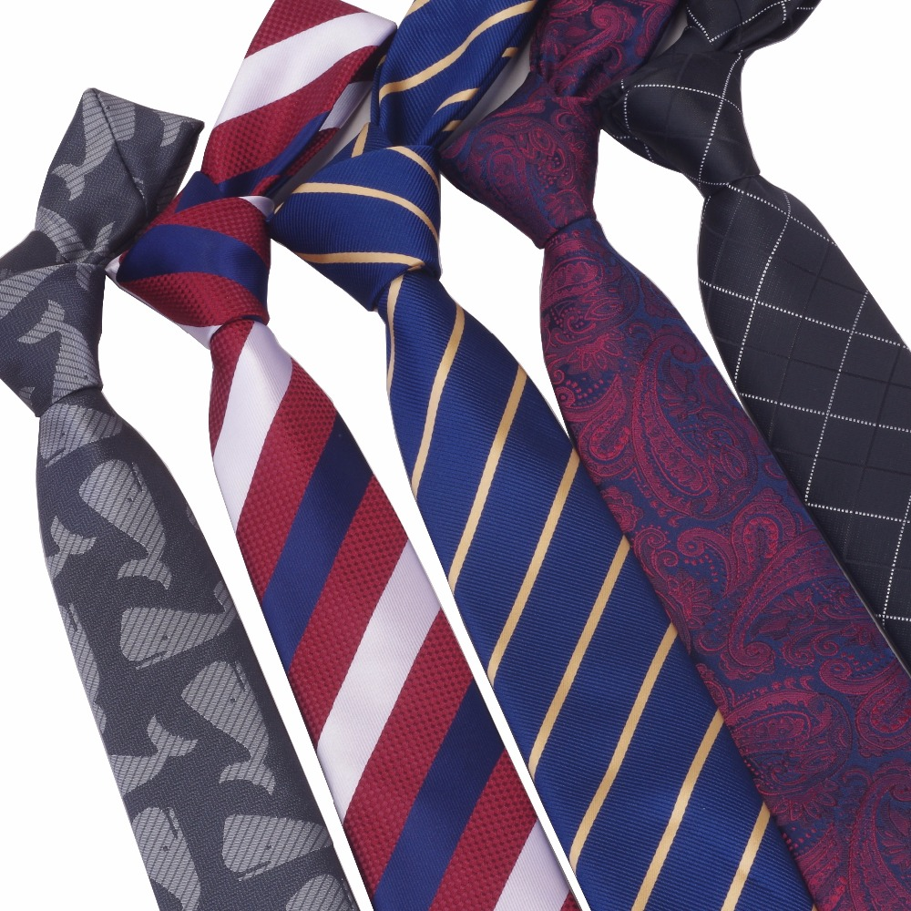 GUSLESON 6cm Skinny Men Neck Ties Fashion Dot Striped Plaid Necktie Gravata Slim Tie Classic Wedding Tie For Men