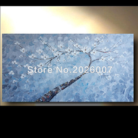 손으로 그린 추상 두꺼운 팔레트 나이프 유화 캔버스 블루 질감 추상 꽃 트리 추상 장식 작품