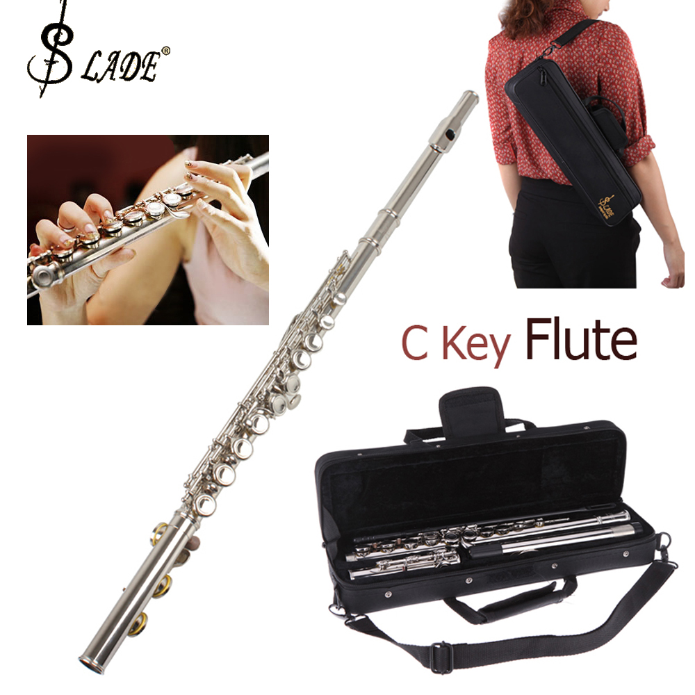 SLADE Professional Flute Silver Plated 16 Keys Closed Holes C Tone Flute Musical Instruments with Case Cloth Screwdriver
