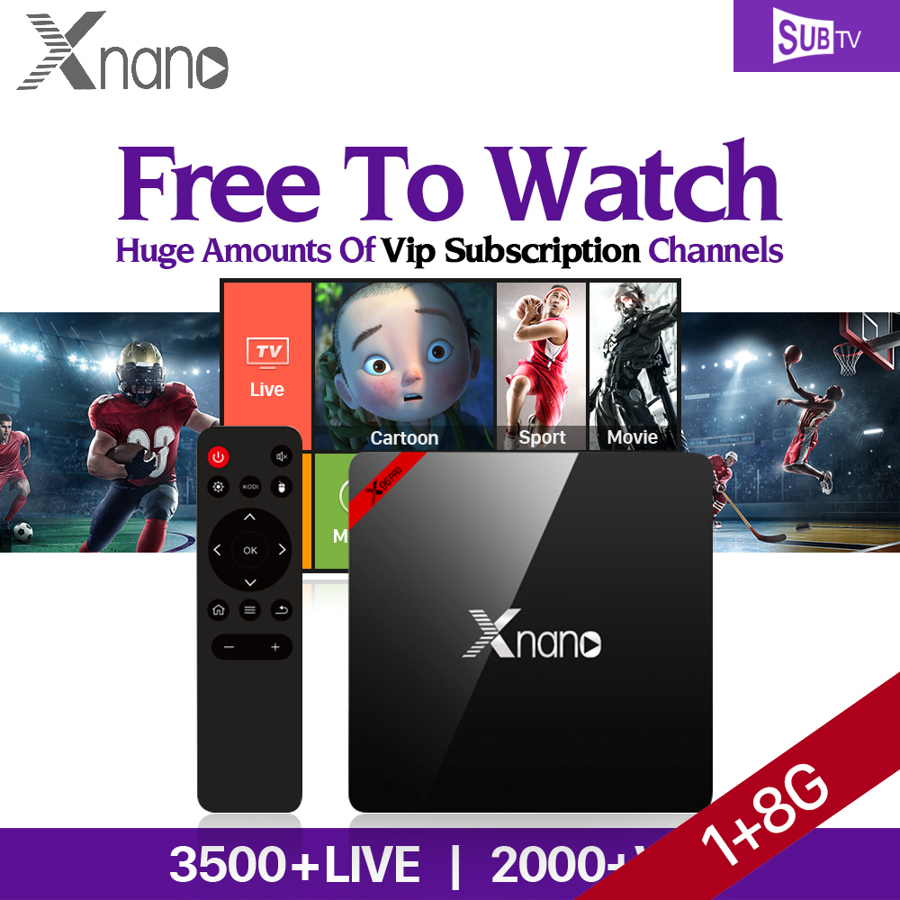 цены Android 6.0 Smart IPTV Set Top Box HD TV Receiver XNANO S905X Quad Core 1G 8G UK Russia US Brazil IPTV Subscription
