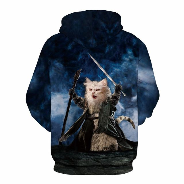 3D cat hoodie you shall not pass