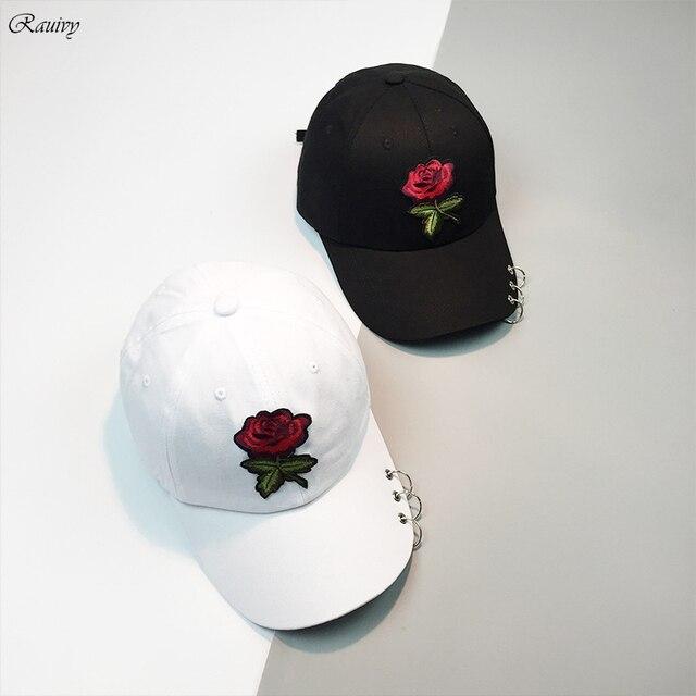 7b579ea0cb0 2019 snapback caps harajuku korean summer hip hop hat fashion retro  personality metal ring embroidery rose baseball cap women