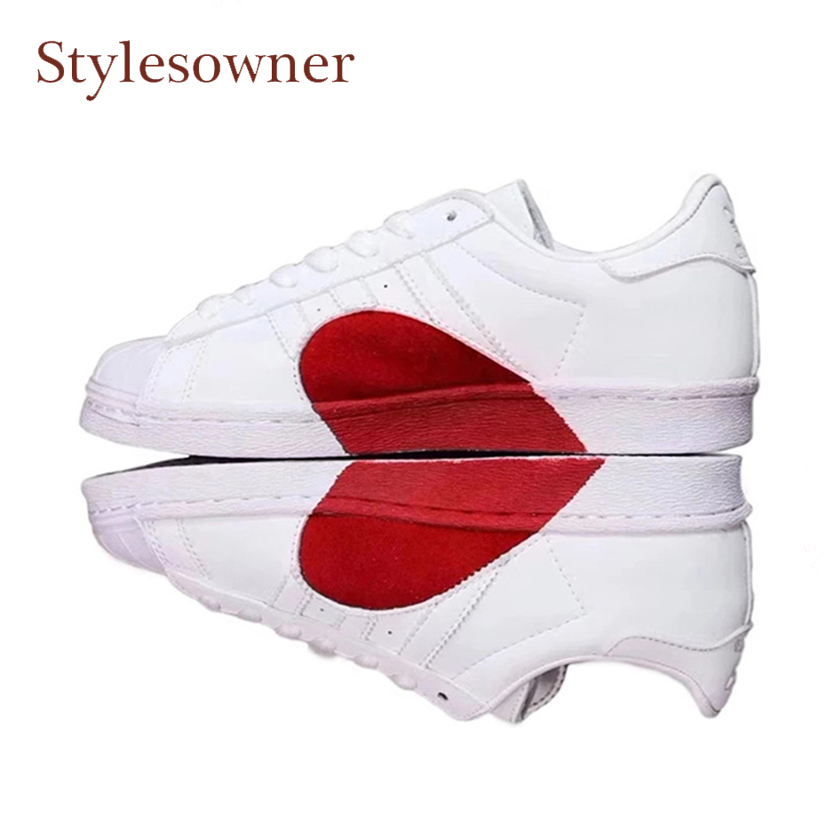 Stylesowner hot sale mixed color red heart genuine leather white flat shoes lace up round toe thick bottom lover casual shoes vik max white genuine leather hot sale figure skate shoes lace up ice figure skate shoes