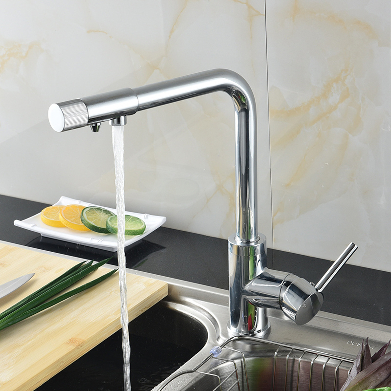 Fapully High Quality Brass Chrome Kitchen Water Purifier Faucet Mixers Sink Tap Cold and Hot Rotatable Sink Faucets 575-33C
