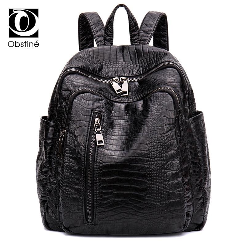 2018 PU Leather Backpack Female Rucksack for Women Back Pack Fashion Alligator Pattern Black Shoulder Bags Rucksacks for Girls