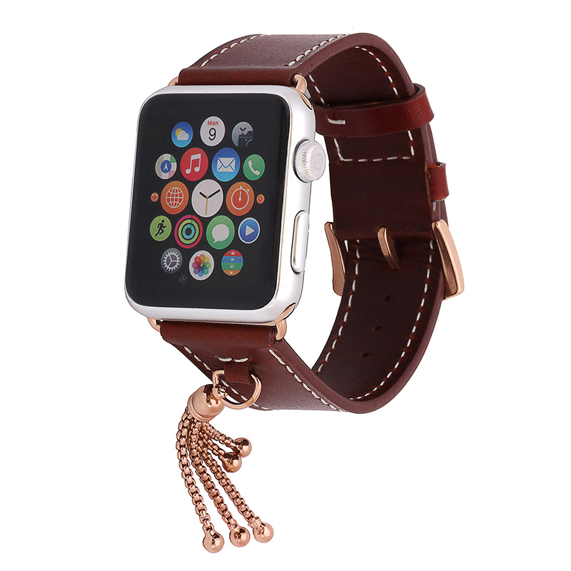 FOHUAS 100% Genuine Leather Watch Band with Connector Adapter strap for Apple Watch Series 1 Series 2 Band with Small Ornaments kakapi crocodile skin genuine leather watchband with connector for apple watch 38mm series 2 series 1 pink