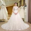 SL-5T Boat Neck Wedding Gowns Lace Short Sleeve Muslin Boho Wedding Dress Turkey 2017