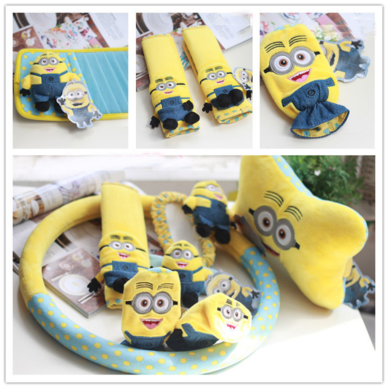 Admirable Us 7 14 13 Off Minions Car Interior Decoration Accessories Short Plush Cartoon Steering Wheel Cover Car Seat Belt Covers Car Neck Pillow Set In Andrewgaddart Wooden Chair Designs For Living Room Andrewgaddartcom